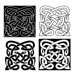 Celtic knot pattern of tribal snakes interlacement vector image