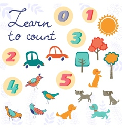 Learn to count concept set of cute graphic vector image vector image