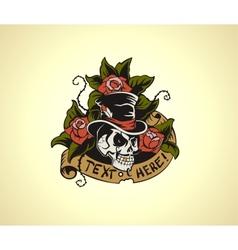 Old School Tattoo Skull vector image vector image