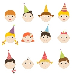 Set of children with birthday hats vector image vector image