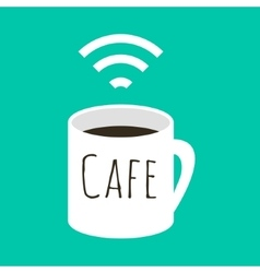 Wifi cafe A cup of coffee and vector image