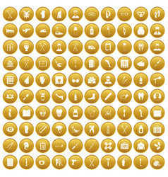 100 medical care icons set gold vector image vector image
