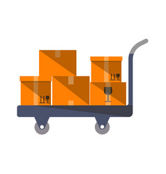 cardboard boxes on truck in flat design vector image