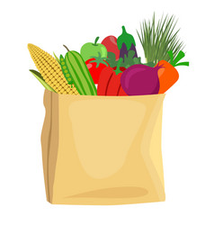 grocery bag full of healthy fruits and vegetables vector image