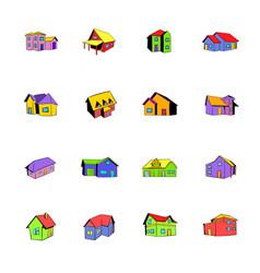 house icons set cartoon vector image