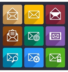 Mail Flat Icons Set 47 vector image