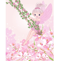 Pixy Fairy on a Swing vector image