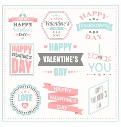 Valentines day set of labels emblems and vector image