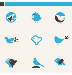blue birds - icon set vector image