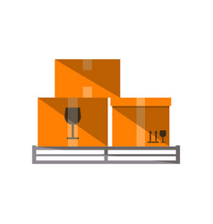 cardboard boxes on pallet icon vector image