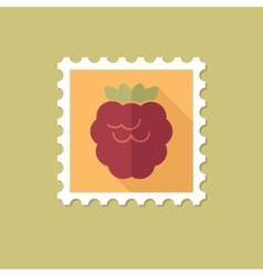 Raspberry flat stamp with long shadow vector image vector image