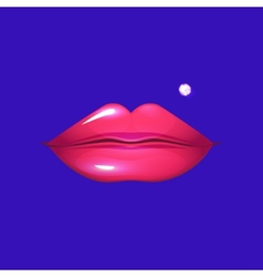 Sexy pink lips pierced with a small diamond vector image