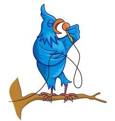 blue bird singing vector image vector image
