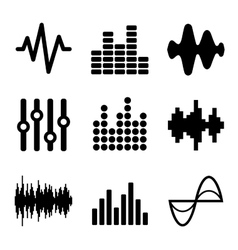 Music Soundwave Icons Set on White Background vector image vector image