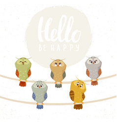 owl set cute vector image