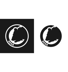 Silhouette of an bear monochrome logo vector image