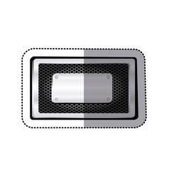 sticker rectangle grille perforated frame with vector image