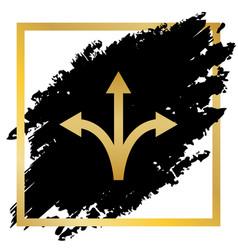 three-way direction arrow sign golden vector image vector image