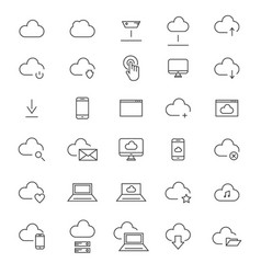 30 cloud computing line icons vector image