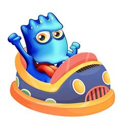 A bumpcar with a blue monster vector