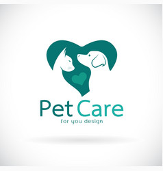 A dog and cat in heart shape on white background vector