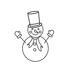 a snowman in the outline icon winter vector image