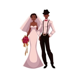 African American just married couple black bride vector image