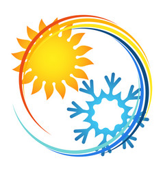 air conditioner and heating symbol vector image
