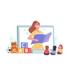 Babysitting friendly digital nanny character vector