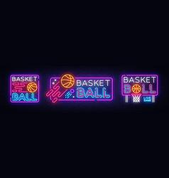 basketball neon sign collection basketball vector image