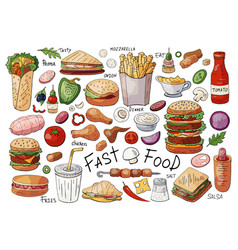 big set of fast food color elements sandwiches vector image