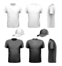 Black and white men t-shirt and cup Design vector image