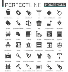Black classic household appliances web icons set vector
