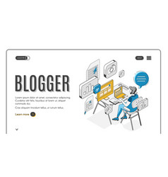blogger isometric landing page social media vector image