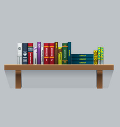 Book shelf with realistic books stalks vector