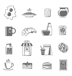 Breakfast black white icons set vector