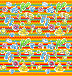 Bright summer pattern with flippers vector