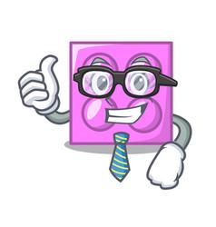 Businessman toy brick character cartoon vector