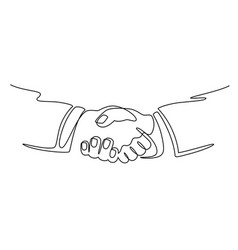 Businessmen shaking hands continuous line drawing vector