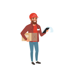 Cartoon courier holding cardboard package and clip vector