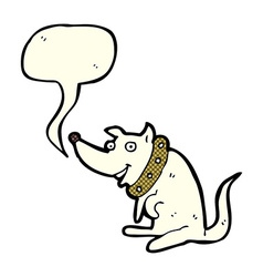 Cartoon happy dog in big collar with speech bubble vector
