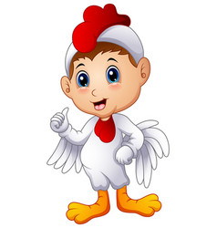 cartoon kid in a chicken costume giving thumbs up vector image