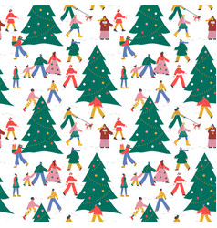 christmas people pine tree winter seamless pattern vector image