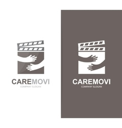clapperboard and hands logo combination vector image