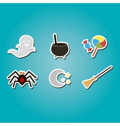 Color icons with symbols of Halloween vector