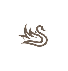 creative brown abstract swan logo vector image