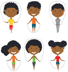 Cute african-american boys and girls skipping vector