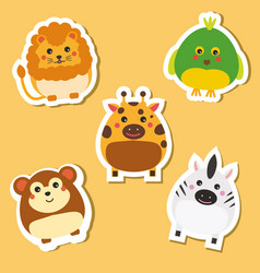 cute african wild animals stickers set vector image