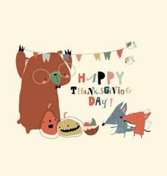 cute cartoon happy animals celebrating vector image