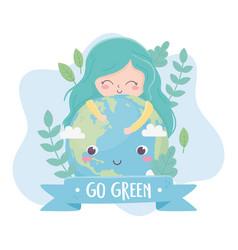 Cute girl hugs world plants nature environment vector